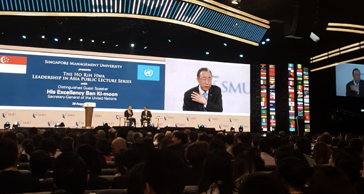 Photo by author. Question and answer session with Secretary-General Ban Ki Moon and Mr. Ho Kwon Ping
